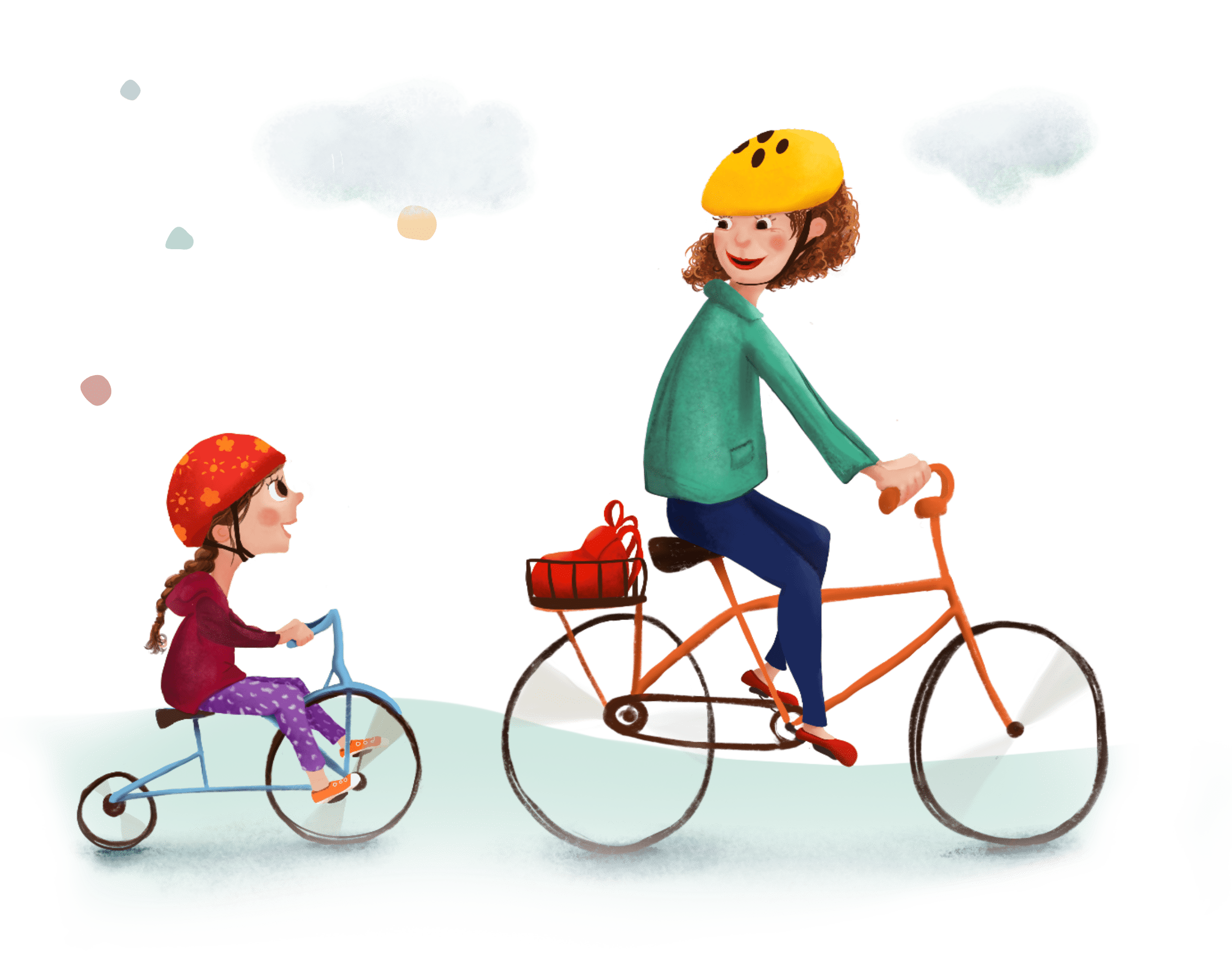 Nanny on bicycle